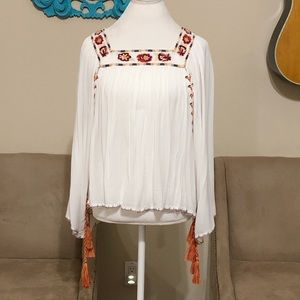 Women's Boho Embroidered Blouse Top White Off